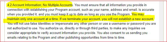 kdp terms and conditions - multiple accounts