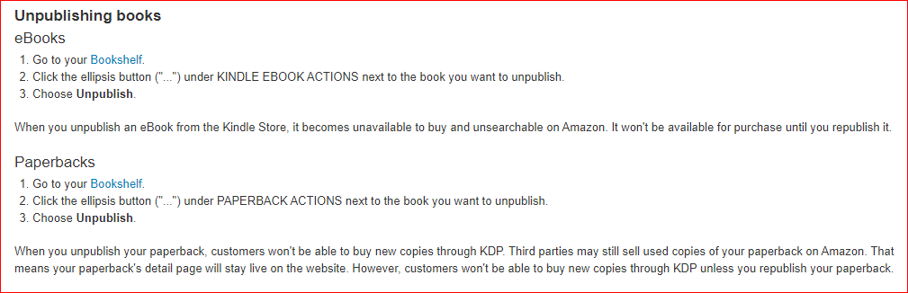 how to unpublish a book on amazon kdp