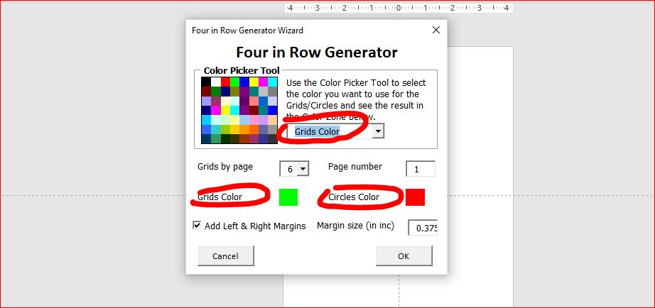 four in a row generator wizard