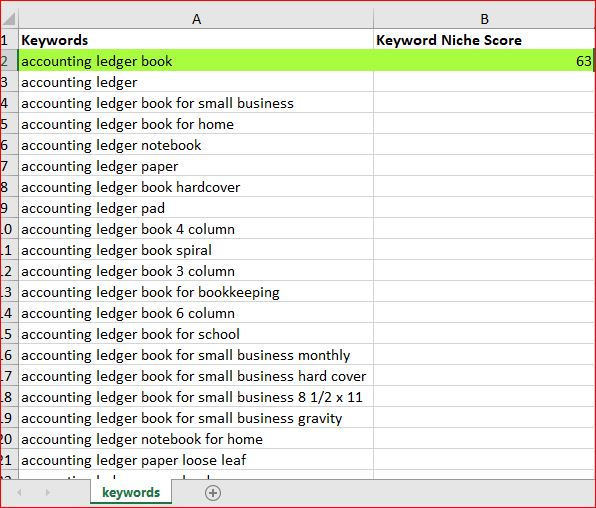 accounting ledger niche research kdp