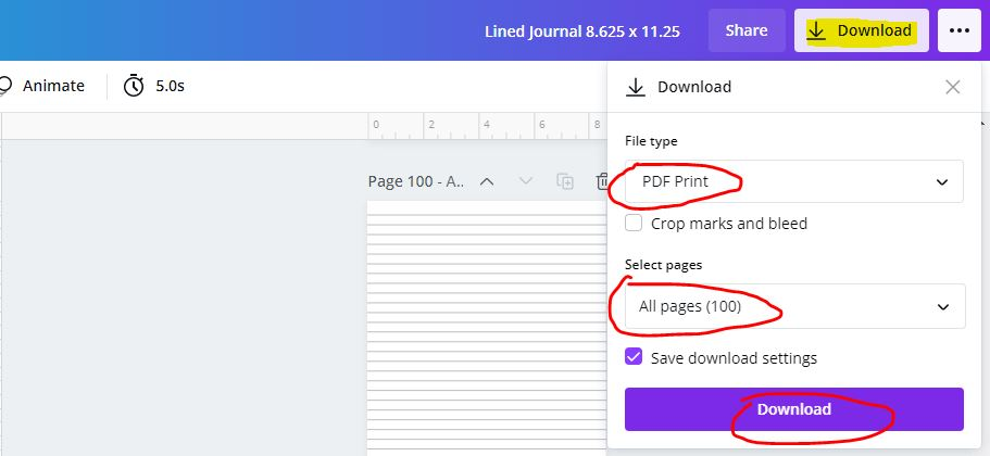 downloading print ready journal from canva